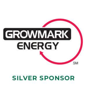 Growmark Energy in black and white lettering with a large circle outline in red above the words silver sponsor in dark green