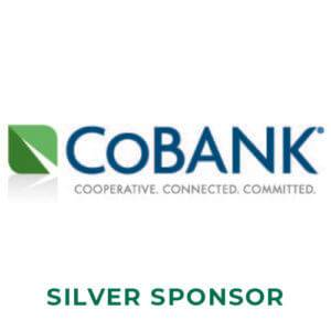 A green leaf next to the words CoBank cooperative. connected. committed. in dark blue and gray above the words silver sponsor in forest green