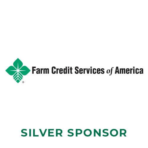 A green four leaf clover next to the words Farm Credit Services of America in black above the words silver sponsor in forest green
