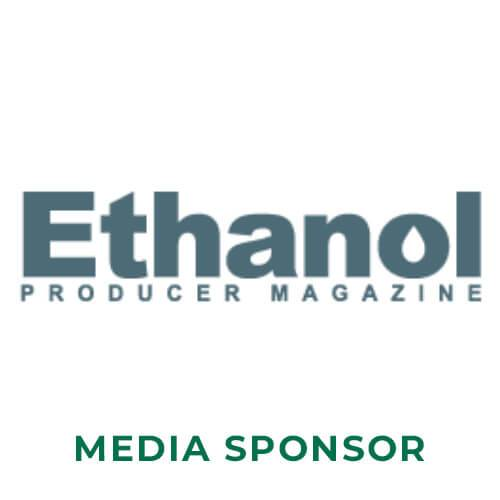 Ethanol producer magazine in dark blue letters above the words media sponsor in forest green letters