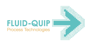 Fluid-Quip in aqua and process technologies in orange to the left of a large aqua arrow
