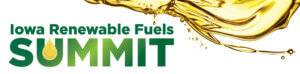 Yellow oil dripping down from the top of the photo onto the words Iowa Renewable Fuels Summit in dark green